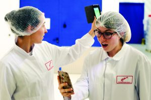 Alena Helzer and friend in hair nets.