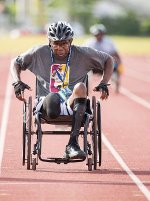 man in wheelchair on a track