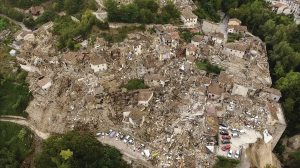 rubble in Italy from the earthquake