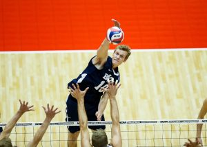 Jake Langlois spikes the ball for BYU