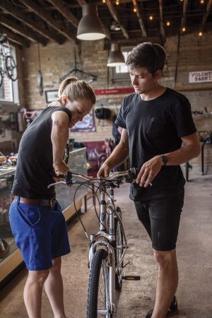 Elise and Austin Taylor work at the Provo Bicycle Collective