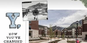 An old snapshot of Heritage Halls is laid out over a shot of the new Heritage Halls