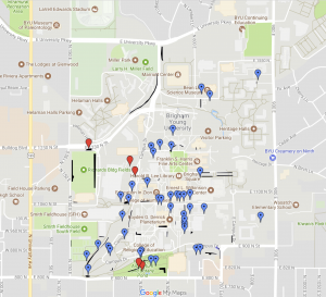 A Google map with pins dropped on it, each pin indicating the location of a plant on campus that can be eaten.