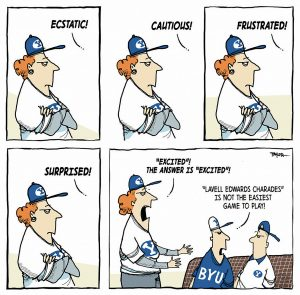 A comic strip showing the many emotions of LaVell Edwards—one stoic face conveys them all