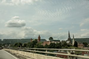 Spires from churches in Cumberland, Maryland.