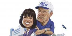 A cartoon of Sarah Clifford and LaVell Edwards outside the LaVell Edwards stadium.