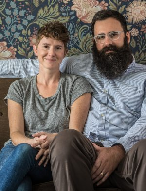 A photograph of Jerusha and Jared Hess.