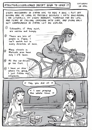 A page from Dendo, the comic-strip missionary journal of Brittany Olsen. This page shows a sister missionary riding a bike.