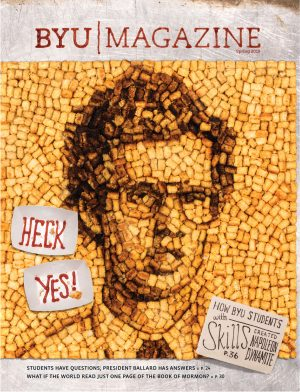 Cover of the spring 2018 issue, featuring Napoleon Dynamite made out of tater tots and a ketchup