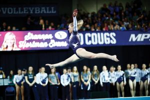 BYU gymnast Shannon Hortman Evans does a split jump.