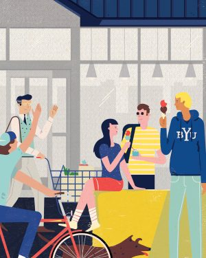 An illustration of students gathered outside a storefront eating ice cream.