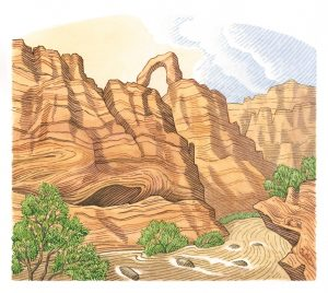 Illustration of a southern Utah canyon.