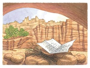 An illustration of a piece of paper on the floor of a cave in southern Utah.