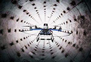 BYU-created drone quadcopter navigating through a tunnel.