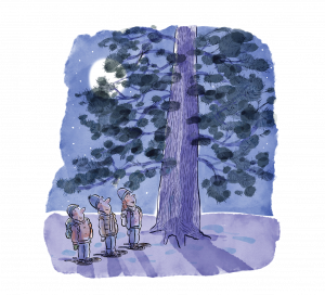 Snowshoeing students at the base of a tree at night.
