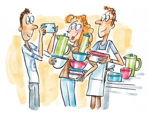 Cartoon illustration of three students holding stacks of Tupperware. One snaps a photo on his cell phone.