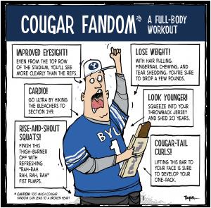A cartoon comic describing aspects of the Cougar Fandom workout.