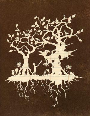 A paper-cut art piece depicting a scene from Jabberwocky