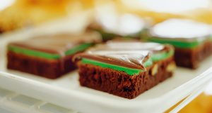 A tray of BYU mint brownies