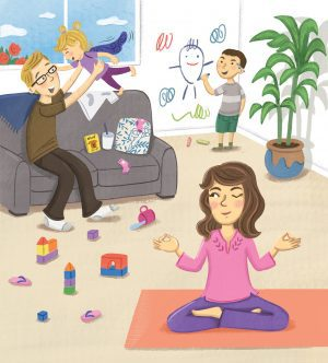 Illustration of a mother doing yoga while a father plays with children