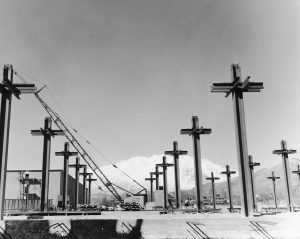 Steel cross beams showing the construction of a library at BYU.