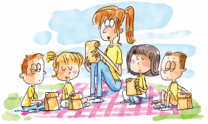 A group of children pray before eating a picnic lunch.