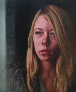 Oil Painting of a girl looking out the window with swollen eyes and a sad look on her face.