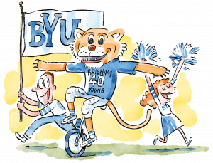 An illustration of Cosmo the Cougar riding a unicycle near cheering fans and cheerleaders.