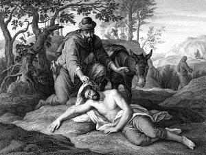 An engraved vintage illustration image of the parable of the Good Samaritan, from a Victorian book dated 1879