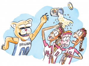 Illustration of Cosmo the Cougar as he attempts to throw a pint of BYU Creamery ice cream to jubilant fans in the Smith Fieldhouse, but the melted product opens and showers members of the opposing women's volleyball team.