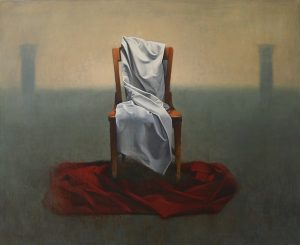 Oil painting of a chair upon a Scarlett red cloth, covered partially by a white cloth.