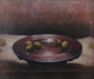 Oil painting of a bowl with olive oil and green olives.
