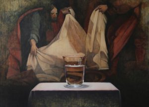 Oil painting of a glass of water in front of another painting depicting a man holding up a white sheet.