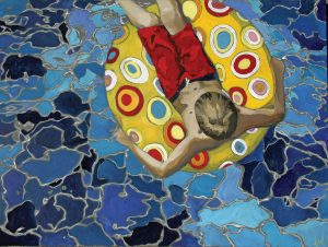 The painting depicts a birds-eye view of a a boy in red swim trunks, reclining on a polka-dotted inner-tube in a pool.