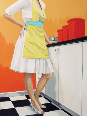 A painting of a woman in a white, 50's-style dress, a yellow apron, and heels. She stands in front of a counter with her hand on her hip. There are three large red canisters and a metal mixing bowl on the counter in front of her. Her head is out of the frame.