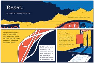 "Part 1 of a comic: The first panel has the title, ""Reset."" Showing a vague mountain scape. It reads, ""Being a transfer student isn't easy."" The next panel shows abstract lines separating different colors, it reads, ""It's like pushing reset on your life. You pack up everything you've built in one arena and take it down a new road, somewhere strange and foreign."