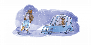 illustration of a girl driving car in snow behind girl walking