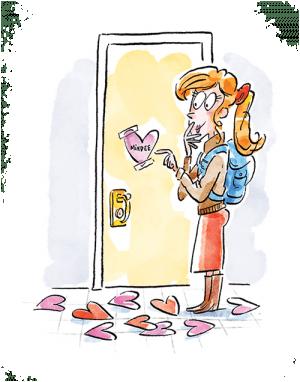 Illustration of girl finding Valentines outside her door.