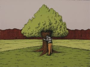 A colored print of a man hugging a tree in a green field.