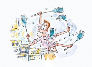 illustration of a guy furiously swatting a swarm of flies in his kitchen.