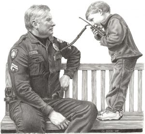 Greg Bean draws a picture in graphite of a Police officer sitting on a bench, looking at a little boy plays with police intercom.