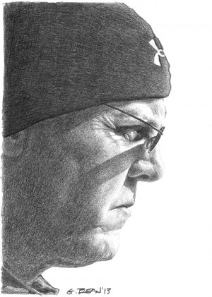 Greg Bean draws a self-portrait with graphite on paper.