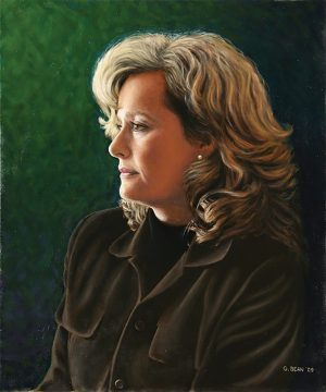 Greg Bean paints his wife, Jean, with oil on canvas.