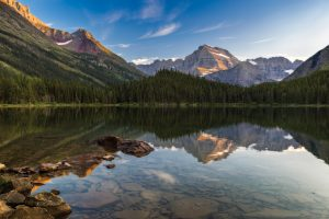 A picture of the serene Swiftcurrent Lake from Glacier National Park.
