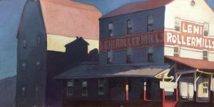A painting of the Lehi Roller Mills factory.