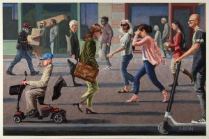 Painting of people walking up and down the side walk, passing by each other and not looking at each other. Part of the painting is erased and is the outline of a man.