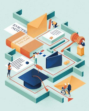An illustration of people navigating various parts of a maze that is filled with items like a graduation cap, a wallet, a gavel, a book, an envelope, and an eviction notice.