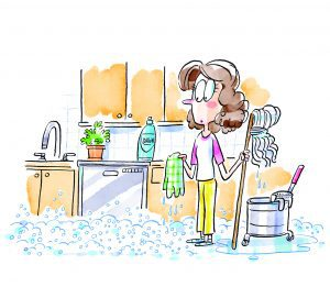 Illustration of a female student holding a mop and dishcloth in a kitchen covered in soapy bubbles.