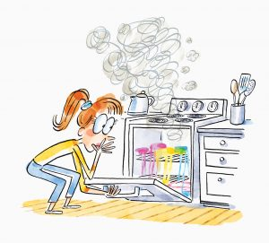 An illustration of female student opening the smoking stove to find a melting mass of rainbow colored plastic.