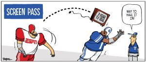 This cartoon depicts a football player dressed in a uniform that reads